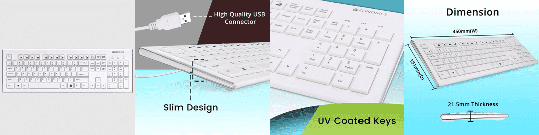 Zebronics White USB Multimedia Keyboard (Zebronics Zeb-DLK01)