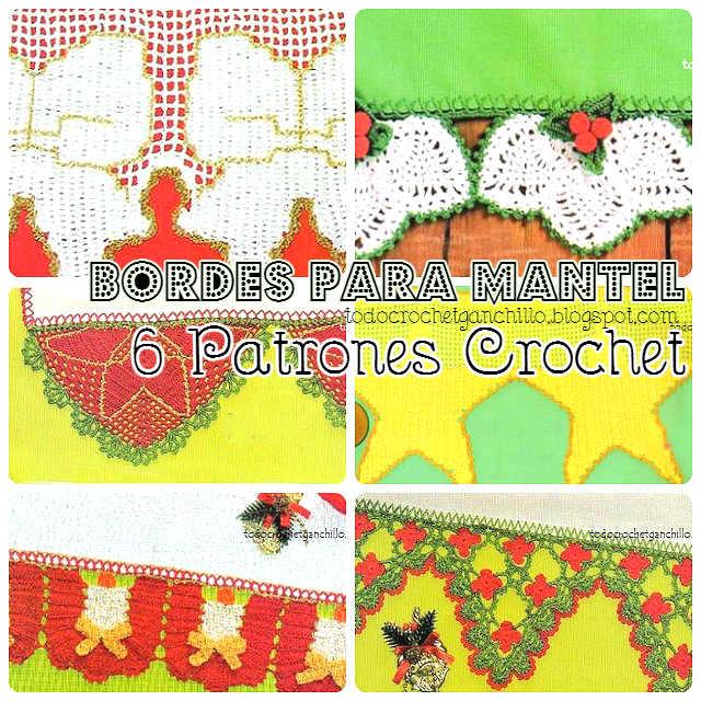 6 patrones de puntillas crochet para mantel con motivo navideño