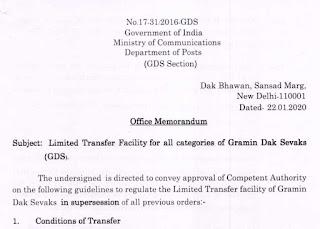 GDS – Limited Transfer Facility for all categories of Gramin Dak Sevaks (DoP)