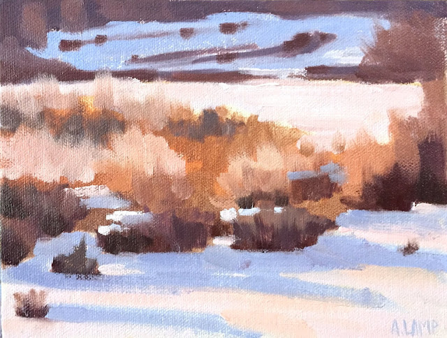 snow shadows and golden shrubs painting Jun 26 2019