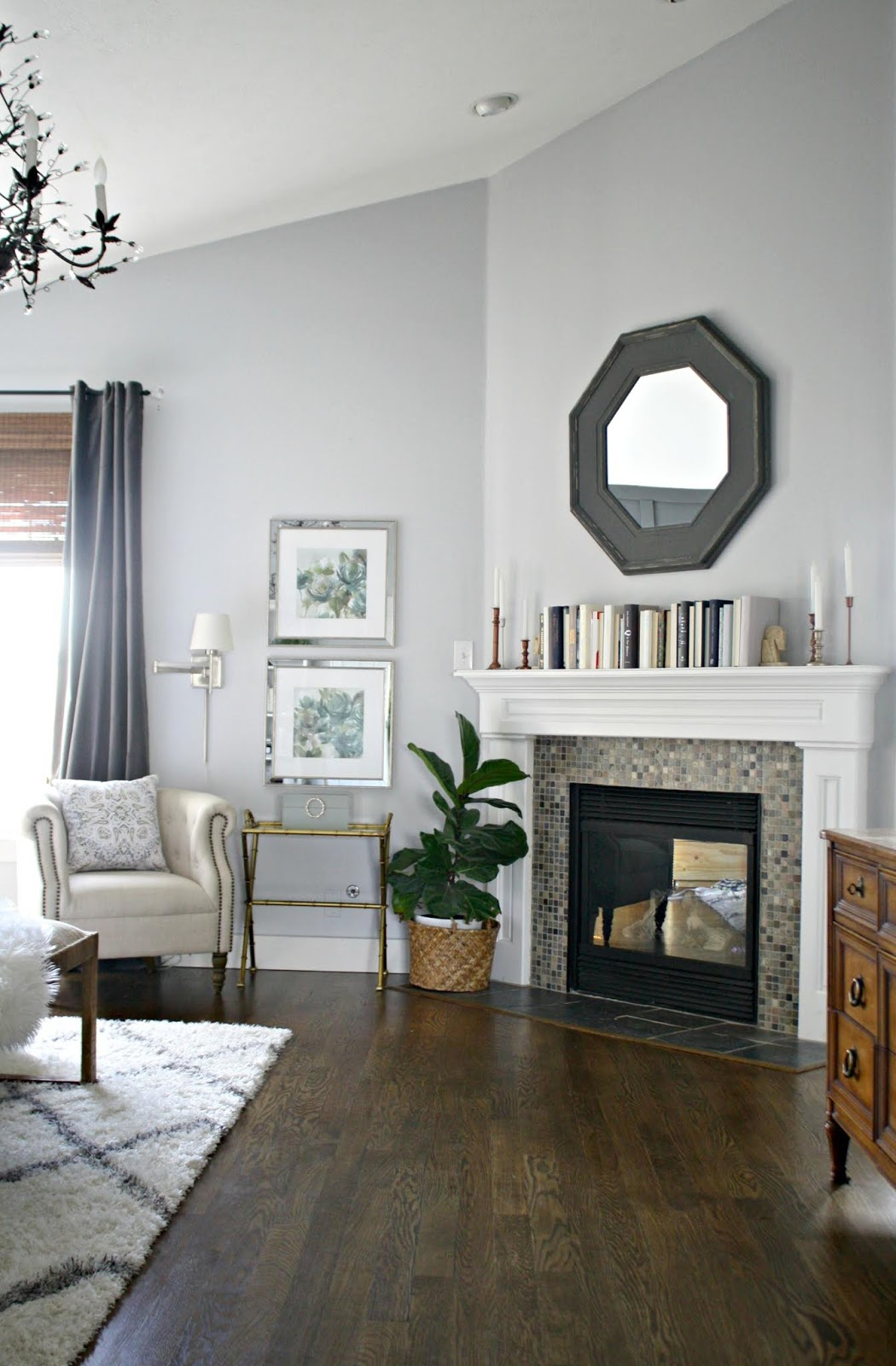 Light gray walls fireplace bedroom