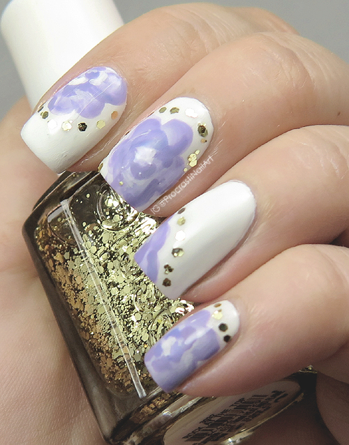 Nail Art Violet For 31dc2016 Purple And Gold One Stroke Flower