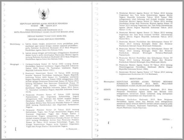 Pedoman Kurikulum Madrasah 2013 Mata Pelajaran Pendidikan Agama Islam dan Bahasa Arab