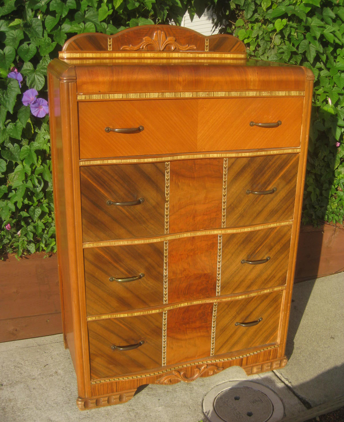 uhuru furniture collectibles sold waterfall highboy 100. Black Bedroom Furniture Sets. Home Design Ideas