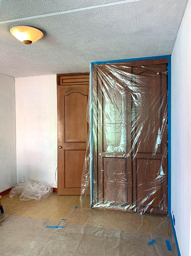 wooden door and closet doors