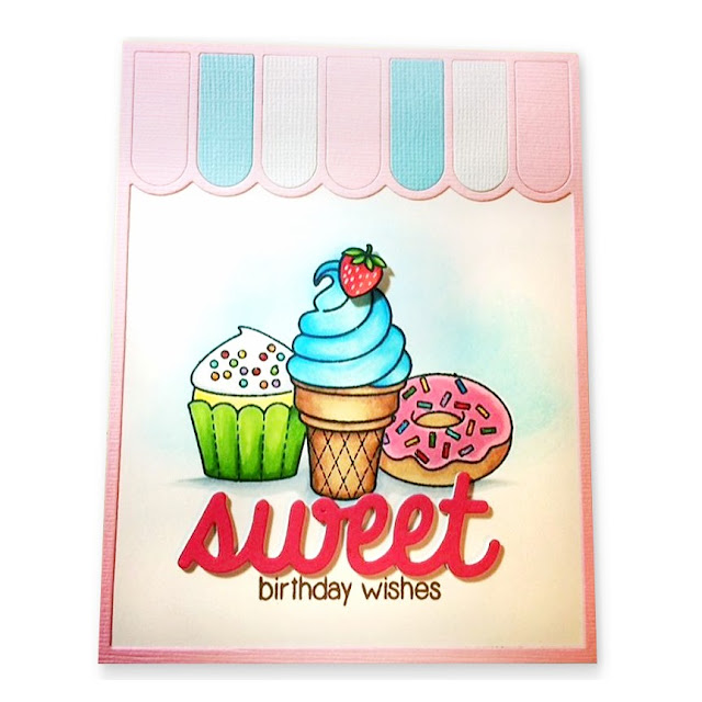 Sunny Studio Stamps: Sweet Shoppe Ice Cream, Cupcake & Doughnut Card by Vornlen Wong