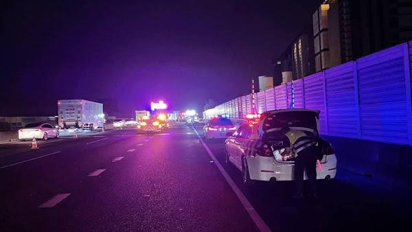 國道一號北上彰化路段大貨車追撞 釀1司機受傷送醫