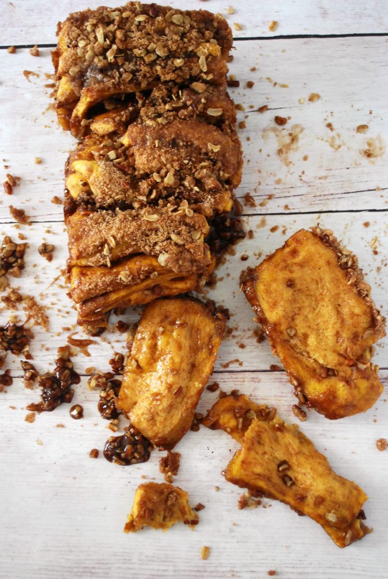 Pumpkin Pull Apart Bread with Pecan Cinnamon Streusel
