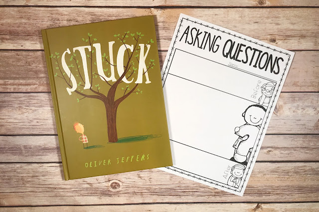 """Picture Book with text """"Stuck"""" and Asking Questions Graphic Organizer"""