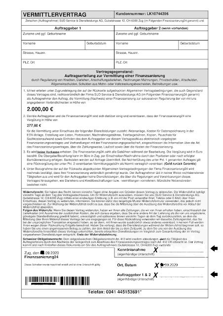 Scan: Vermittlervertrag / SUD Service & Dienstleistungs AG / Sep 2020