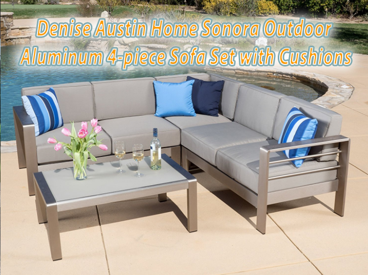 Denise Austin Home Sonora Outdoor Aluminum 4-piece Sofa Set with Cushions, Outdoor Spaces. Outdoor Furniture, Outdoor Living, Outdoor sofa Sets, Outdoor Sectional Sets,