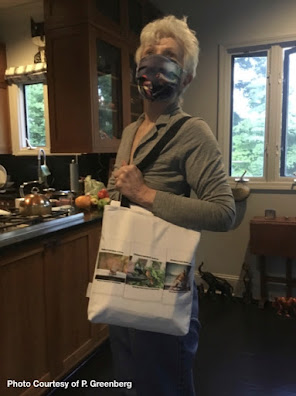 "This picture features a woman ""modeling"" one of  the tote bags I have designed. She is standing at a kitchen counter and wearing my cardinal-themed PPE face-mask (info re the mask is @ https://bit.ly/30GjD6t)  Her tote has a white background and it is hanging from a strap over her shoulder and across her body. The image on the tote is of the covers of my three volume book series, ""Words In Our Beak."" The tote is made of poly-poplin. My totes come in three sizes (13"" by 13,"" 16"" by 16,"" and 18"" by 18"") each item the one seen here is 18"" by 18."" Each tote includes a one inch strap for easy carrying on your shoulder. All seams are double stitched for added durability. These are machine washable (in cold water) and the same image (in this case  – as  previously stated — that image is of the book jackets for my three volume book series, ""Words In Our Beak.""**) is printed on both sides. *Info re this tote is @ http://bit.ly/2UlBrRU **Info re these books is @ http://bit.ly/2EdADpx"