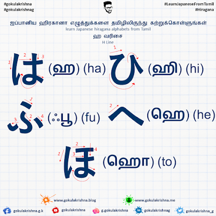 Japanese Hiragana H - Line Consonants with Stroke Order | learn Japanese hiragana alphabets from Tamil - Hiragana Letters Part 6
