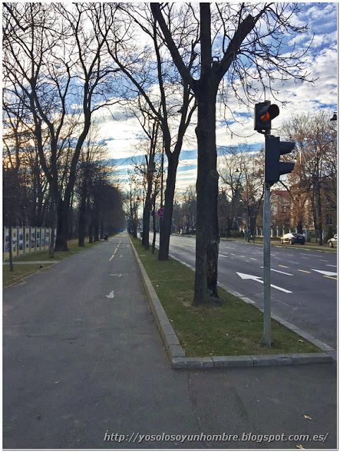 Una gran avenida, de las muchas que hay con sitio para pasear, carril bici, etc.