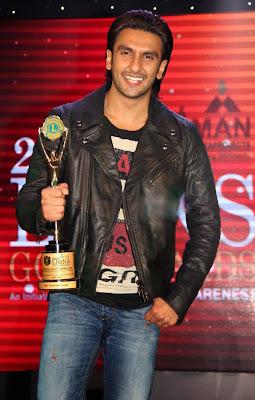 Ranveer Singh with his awards 2014