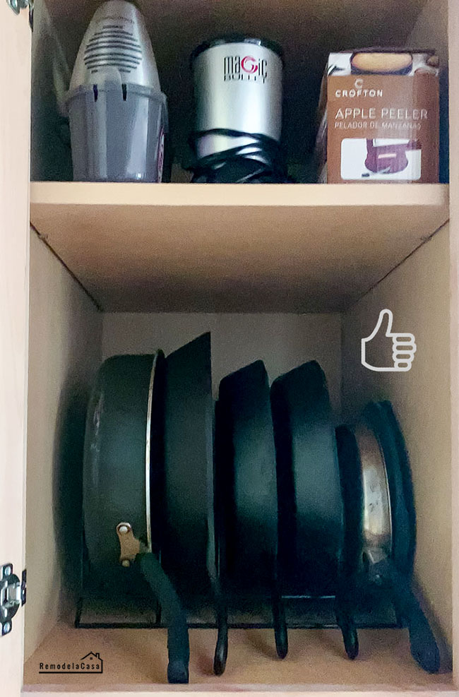 cast iron storage inside cabinet