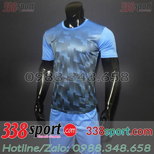 Mẫu Áo Bóng Đá Không Logo Đẹp Nike LaMa Xanh Nhạt