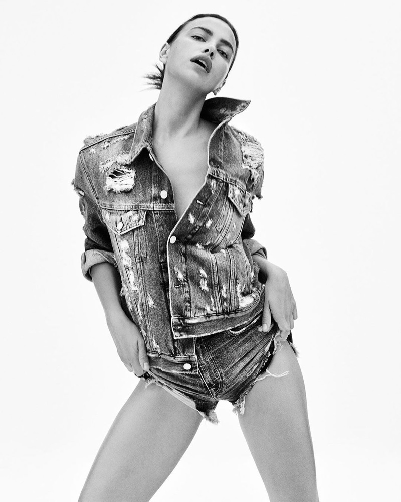 Irina Shayk poses in distressed denim for Replay Rose Label campaign.