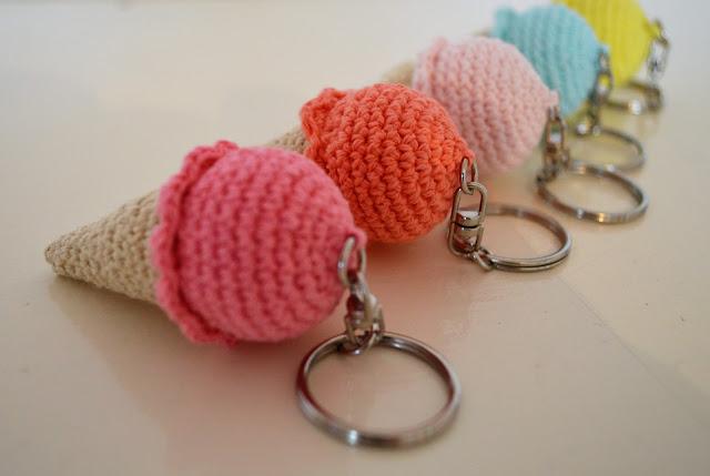 glace au crochet , glace , crochet , tuto , porte clef , amigurumi , dinette au crochet
