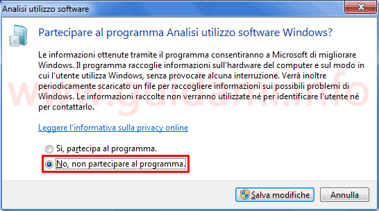 Pannello di controllo disattivare programma analisi utilizzo software Windows