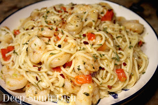 Shrimp and vegetables, sauteed in a garlic butter sauce and tossed with pasta.