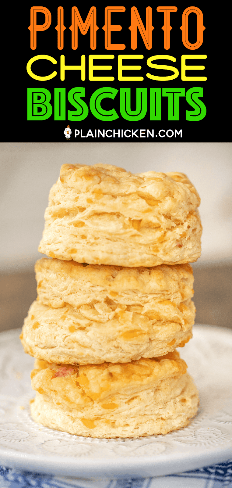 three biscuits stacked on top of each other on a plate