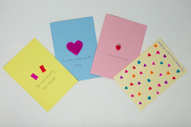 Group selection of 4 Valentine's cards with messages on as described below