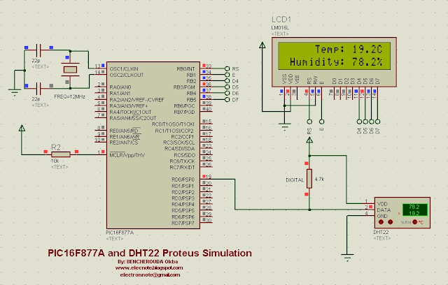 Interfacing PIC16F877A with DHT22 (AM2302) using DHT22 mikroC library