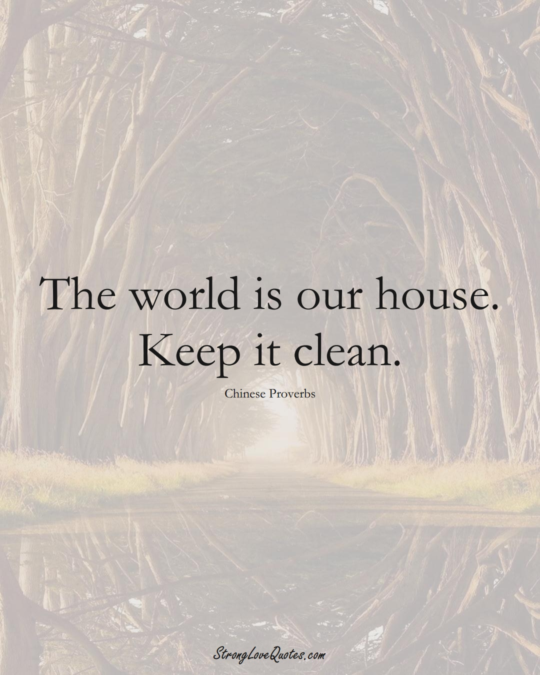 The world is our house. Keep it clean. (Chinese Sayings);  #AsianSayings