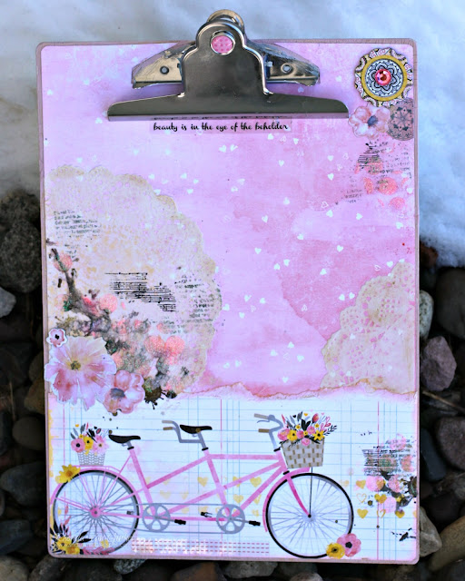 BoBunny Gift Sunday Funday Altered Clipboard featuring Petal Lane and Pentart Antique Paste designed by Rhonda Van Ginkel