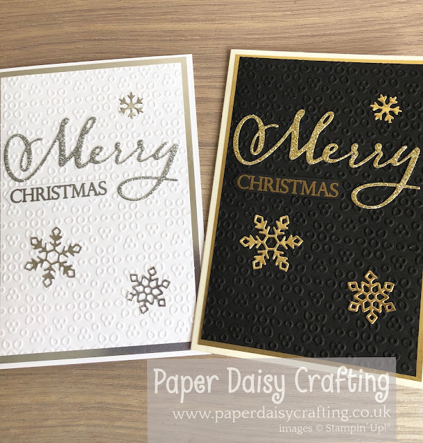 Merry Christmas to all black and gold card and silver and white Stampin Up Paper Daisy