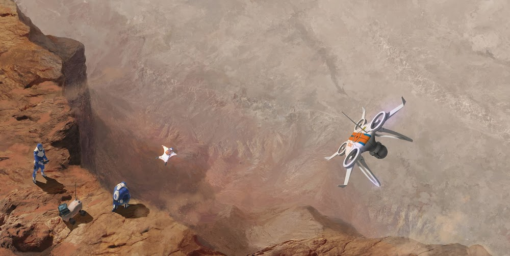 Basejumping in Valles Marineris on Mars by Quentin Gautier