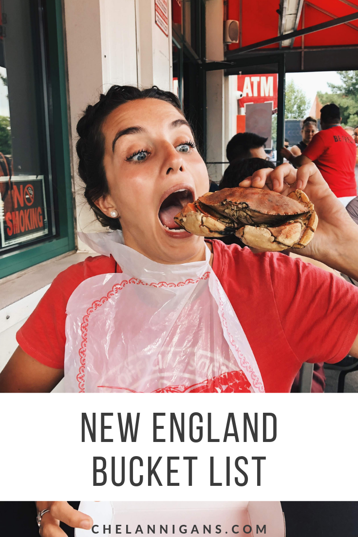 Girl eating crab at Yankee Lobster in Boston, MA with text overlay - New England Bucket List