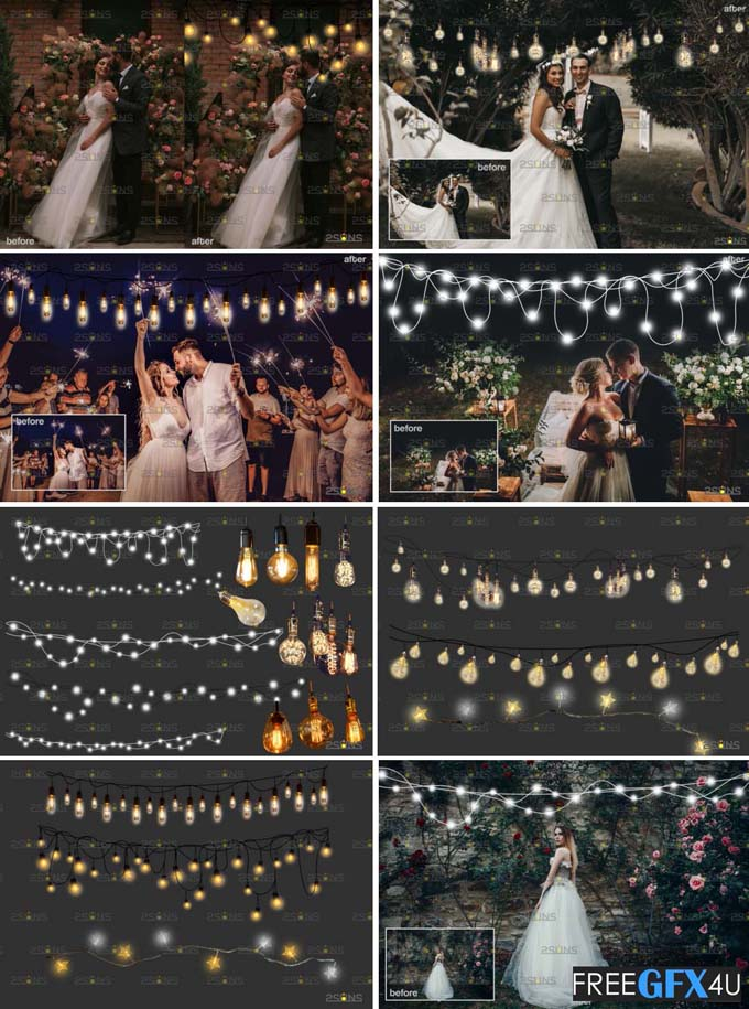 String Fairy Lights Overlay & Wedding Free Download