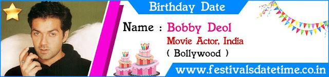 Bobby Deol Birthday Date