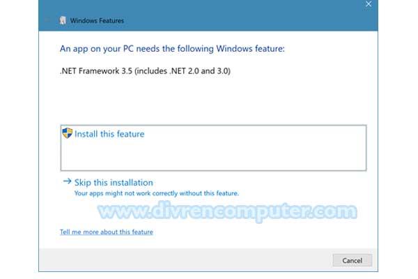 Netframework 3.5 instal, error