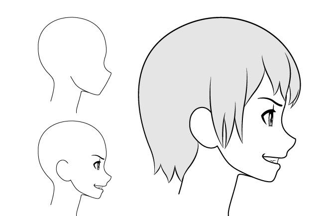 Gadis anime menyeringai gambar pemandangan samping