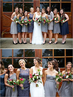 neutral grey bridesmaid dresses