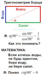 Тригонометрия борща. Борщ, вода, салат. Деление на ноль. Если хочешь воды, не будь идиотом, бери воду, не бери салат. Математика для блондинок.