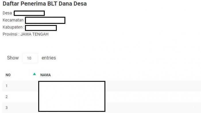 Tampilan laman sid.kemendesa.go.id untuk cek penerima BLT Dana Desa. (tangkap layar sid.kemendesa.go.id)