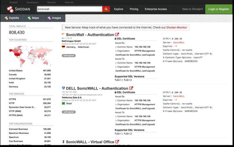 - shodan sonicwall - 11 Zero-Day Vulnerabilities Found in VxWorks RTOS