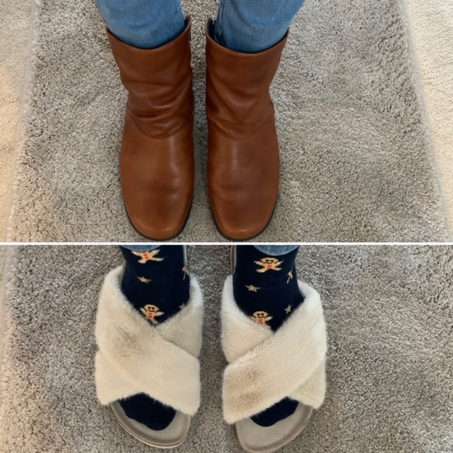 Footshots of brown boots ansd faux fur slider slippers
