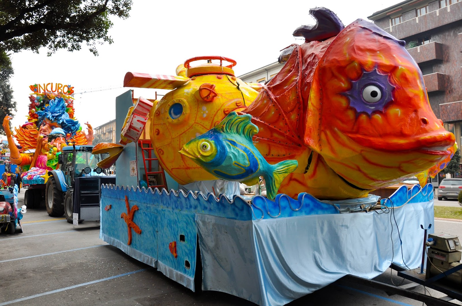 Huge papier mache fish - part of a float of Verona Carnival