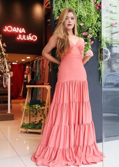 vestido coral para madrinha de casamento