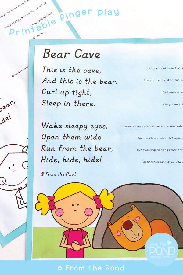 Bear Cave Printable From the Pond