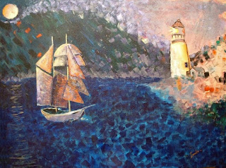 "acrylic on canvas, 30"" x 40"" sailboat painting by George Zantua"