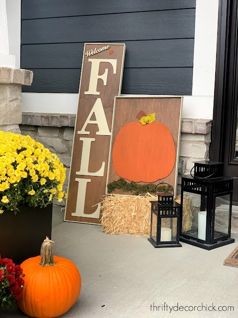 DIY large wood fall signs for front porch