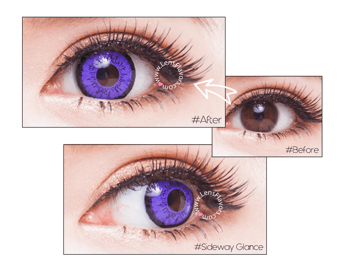 eos dolly eye violet before after