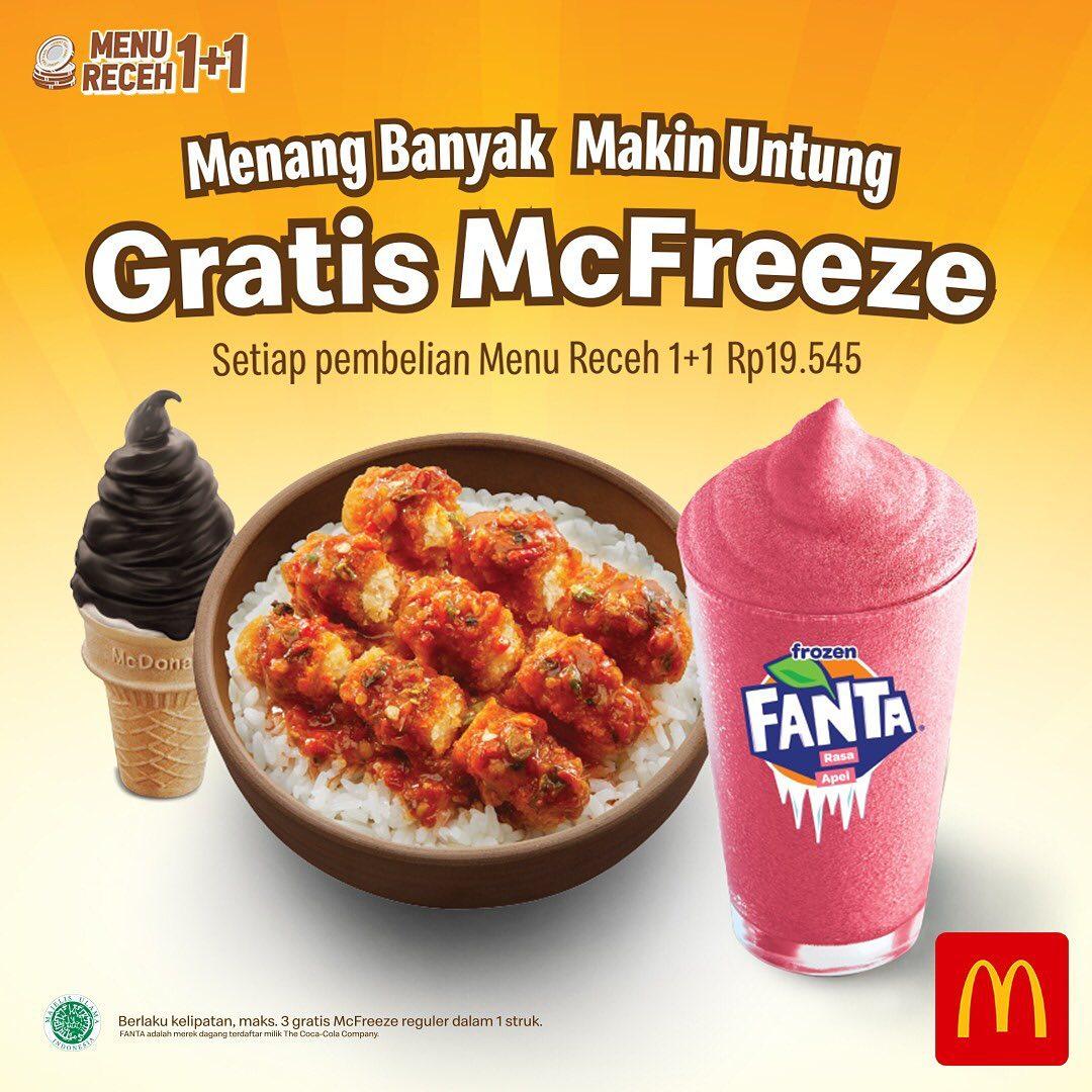 McDonalds Promo Gratis McFreeze Setiap Pembelian Menu Receh 1+1 Senilai Rp 19.545*