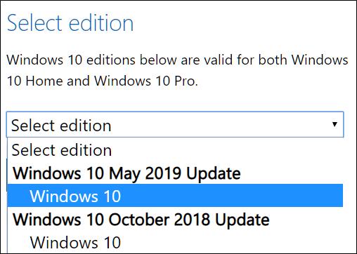 حدد إصدارًا من Windows 10 لتنزيله.